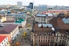 Kazan, Russia - March 28.2017. Top view of historical center And pedestrian Bauman street. Kazan, Russia - March 28.2017. Top view of the historical center And Royalty Free Stock Images