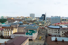 Kazan, Russia - March 28.2017. Top view of historical center And pedestrian Bauman street Royalty Free Stock Photography