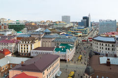 Kazan, Russia - March 28.2017. Top view of historical center And pedestrian Bauman street Stock Photos