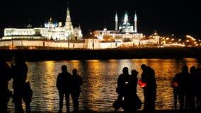 Kazan, Russia, 12 may 2017 - Festival of floating lighting Lanterns on Kazanka river at night stock footage