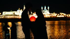 Kazan, Russia, 12 may 2017 - portrait pf loving couple at festival of floating Lanterns on Kazanka stock video footage