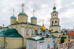 Kazan, Russia. Nikolaya Chudotvortsa Cathedral Nizskogo and Church of Intercession of Holy Virgin Stock Photo