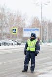 Kazan, Russia, 17 november 2016, Russian policeman in uniform in international Airport. Kazan, telephoto stock photo