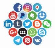 KAZAN RYSSLAND - April 12, 2017: Samling av popul?ra sociala massmedialogoer arkivfoto