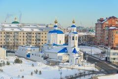 Kazan Ryssland - 23 02 2016: Kyrka i Kazan, vinter royaltyfri fotografi