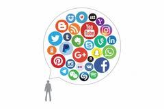 KAZAN RYSSLAND - Oktober 26, 2017: Samling av popul?ra sociala massmedialogoer som skrivs ut p? papper stock illustrationer