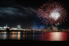 Kazan skyline during fireworks Royalty Free Stock Photography