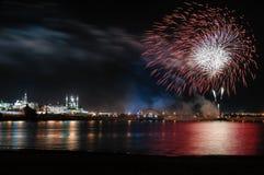 Kazan-Skyline während der Feuerwerke Lizenzfreie Stockfotografie