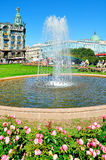 Kazan Square, small fountain and historic buildings of Nevsky Prospect in St Petersburg, Russia Stock Photo
