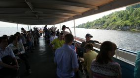Kazan-Sviyagsk, Tatarstan, Russia, 19 july 2017, crowd of tourists going to Sviyagsk on passenger vessel stock video