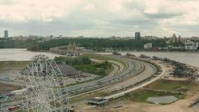 Kazan, Tartaristão, Rússia Vista da ponte do milênio video estoque