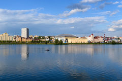 KAZAN, TATARSTAN, RUSSIA - CIRCA JUNE 2016. Panoramic view to embankment and modern part of the city. Popular place for tourists and scenic walking area royalty free stock images