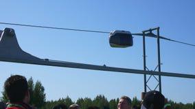 Experimental unicar drives along suspension railway
