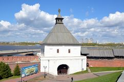 City views of Kazan. KAZAN, TATARSTAN, RUSSIA - MAY 13, 2017 - The Taynitskaya tower of the Kazan Kremlin Royalty Free Stock Images