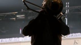Closeup Musician Performs Playing Trumpet at Concert. KAZAN, TATARSTAN/RUSSIA - NOVEMBER 07 2017: Closeup professional musician in glasses performs playing stock footage