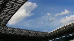 Sport Stadium Created for Holding Football Championships. KAZAN, TATARSTAN/RUSSIA - NOVEMBER 07 2017: Impressive sport stadium created for holding football stock video