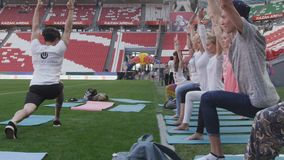 Slow Motion People Repeat Yoga Position after Instructor stock video footage