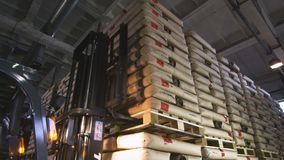 Forklift Approaches Goods Unload Freight on Pallet