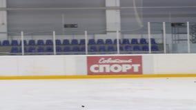 Slow motion men play hockey goalkeeper catches puck. Kazan, Tatarstan/Russia - September 12 2016: Slow motion men play hockey and goalkeeper catches puck after stock video