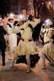 Kazan Tatarstan/Ryssland - 12 29 2017: Showen för underhållning för ` för `-Remue Menage Den franska skådespelartruppen arbetar i Royaltyfria Bilder