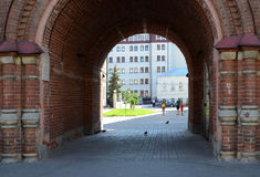 Kazan. View of the city courtyard through the arch of the bell t Stock Photos