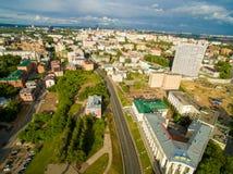 kazan Widok z lotu ptaka centrum miasto przy Uroczystym hotelem Zdjęcia Royalty Free