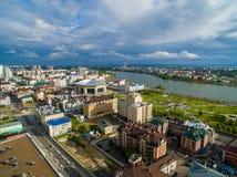 kazan Widok z lotu ptaka centrum miasto przy Uroczystym hotelem Zdjęcia Stock