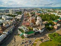 kazan Widok z lotu ptaka centrum miasto przy Uroczystym hotelem Zdjęcie Stock