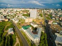 kazan Widok z lotu ptaka centrum miasto przy Uroczystym hotelem Fotografia Stock