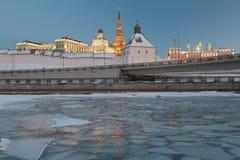 Kazanka和克里姆林宫 喀山,鞑靼斯坦共和国,俄罗斯 免版税库存照片