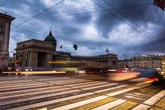 Kazanskiy Cathedral in Saint Petersburg in Russia, blurred traff Stock Image