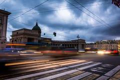 Kazanskiy Cathedral in Saint Petersburg in Russia, long exposure Royalty Free Stock Photo