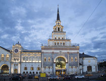 Kazansky railway terminal  Kazansky vokzal at night -- is one of nine railway terminals in Moscow, Russia. Royalty Free Stock Image