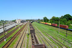 Kazatin, Ukraine. Cargo compositions at railway station Stock Photography