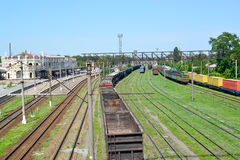 Kazatin, Ukraine. Cargo compositions at railway station.  Royalty Free Stock Images