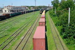 Kazatin, Ukraine. Cargo compositions at railway station Stock Photo