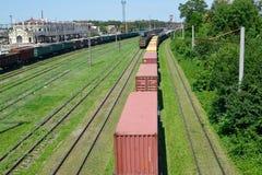 Kazatin, Ukraine. Cargo compositions at railway station.  Stock Photo
