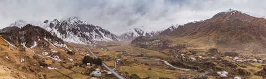 Between Kazbegi and Gudauri III. A panorama picture of the Georgian landscape and wilderness between Kazbegi and Gudauri Stock Photos