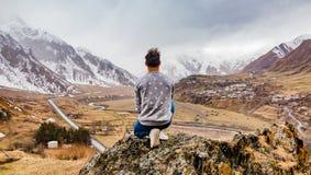 Kazbegi Landscape Man Explorer Royalty Free Stock Photography