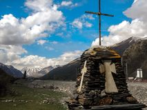 Kazbek山,高加索,乔治亚,欧洲 库存照片