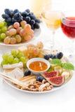Kazen en vruchten, verticale wijn en snacks, Stock Afbeelding