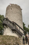 Kazimierz Dolny, Poland - fortified tower/Polish flag. Royalty Free Stock Images