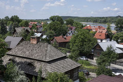 Kazimierz Dolny, Poland - houses/wooden roofs. This image shows a view of Kazimierz Dolny, a small town in Poland, Europe. It was taken in June 2017 on a Royalty Free Stock Image