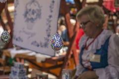 Kazimierz Dolny, Poland - street market/blon egg hanging. Royalty Free Stock Photography