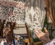 Kazimierz Dolny, Poland - street market/tablecloth. Stock Photos