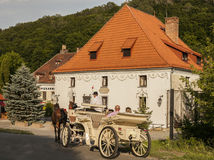 Kazimierz Dolny, Poland - a street in the town/a carriage. Royalty Free Stock Image