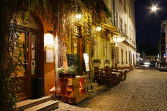 Kazimierz, former jewish quarter of Krakow, Poland. Autumn night in Kazimierz, former jewish quarter of Krakow, Poland Stock Photos