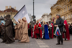 Kaziuko fair. VILNIUS, LITHUANIA - MARCH 7: Theatricalized procession during annual traditional crafts fair - Kaziuko fair on Mar 7, 2009 Royalty Free Stock Images