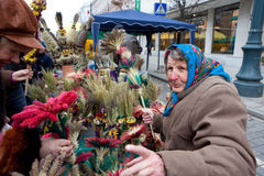 Kaziuko fair. VILNIUS, LITHUANIA - MARCH 7: Palms are symbolic wares in annual traditional crafts fair - Kaziuko fair on Mar 7, 2009 Stock Photos