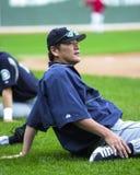 Kazuhiro Sasaki stretches before a game. Stock Images